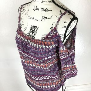 ONE CLOTHING Womens Purple Printed Casual Cold Top